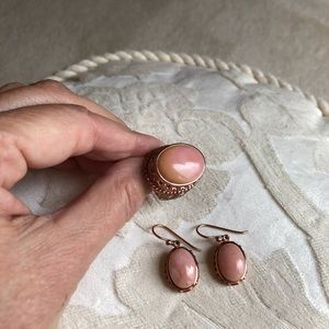 Pink opal & copper earrings & ring.  Never worn!